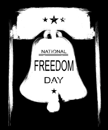 Poster or banners –  on  National Freedom Day! - February 1st. Liberty Bell silhouette as background. Black and white illustration