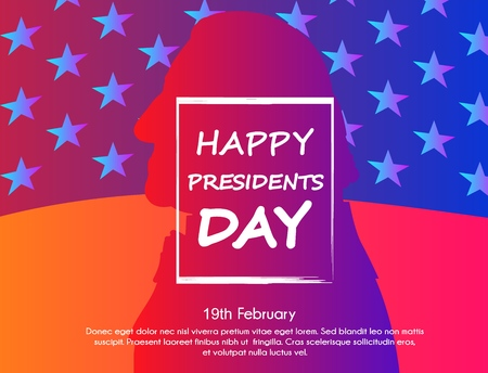 Creative illustration with trendy gradient effect, poster or banner of Presidents Day. George Washington silhouette with USA flag as background.