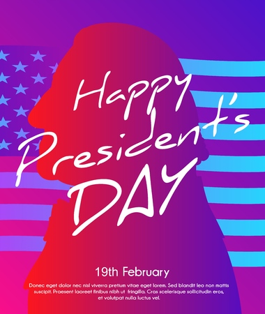 Creative illustration with trendy gradient effect, poster or banner of President's day. George Washington silhouette with USA flag as background. Soft color gradient background. Illustration