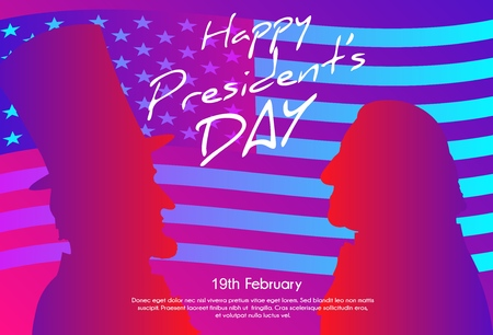 Happy Presidents Day in USA Background. George Washington and Abraham Lincoln silhouettes with flag as background. Soft color gradient background.  イラスト・ベクター素材