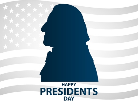 Creative illustration, poster or banner of Presidents Day! - February 19th.  George Washington silhouettes. Ilustração