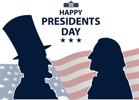 Happy Presidents Day in USA Background. George Washington and Abraham Lincoln silhouettes with flag as background. United States of America celebration. Vector illustration. Vectores