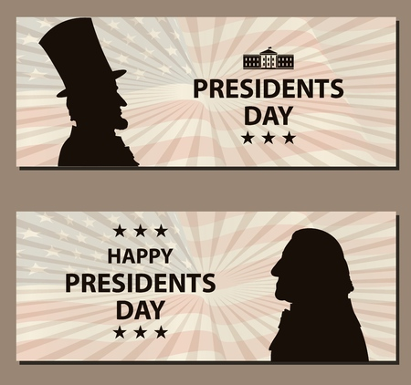 Happy Presidents Day Vintage banner. George Washington and Abraham Lincoln silhouettes with flag as background. United States of America celebration. Vector illustration.