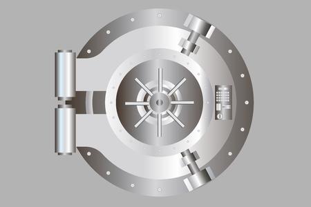 Bank door illustration Vector vault door.