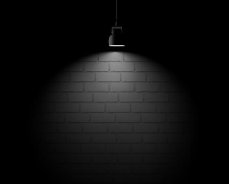 Brick wall backround with light spot. Vector scene.