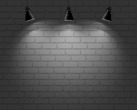 Brick wall with three light spots. Vector background.