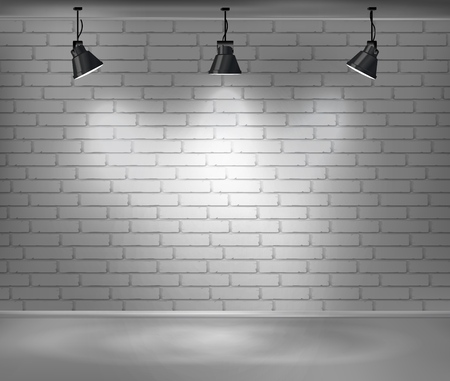 Empty brick wall. Blank room is illuminated by three lamps. Background for advertising indoors. Stock vector illustration.