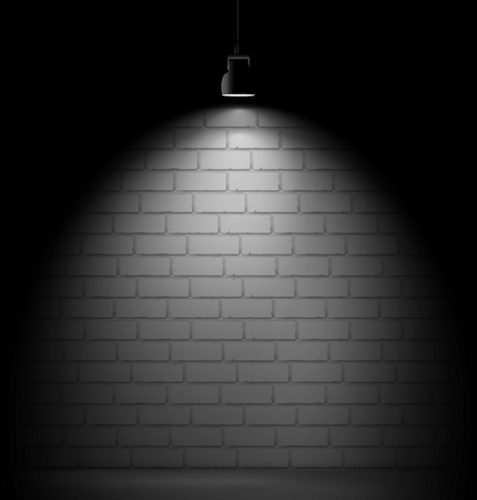 Brick wall background with light spot. Stock Illustratie