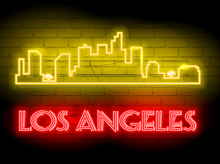 Neon silhouette of Los Angeles city skyline vector background. Neon style sign illustration for t shirt printing or wall decoration with brick wall as background.
