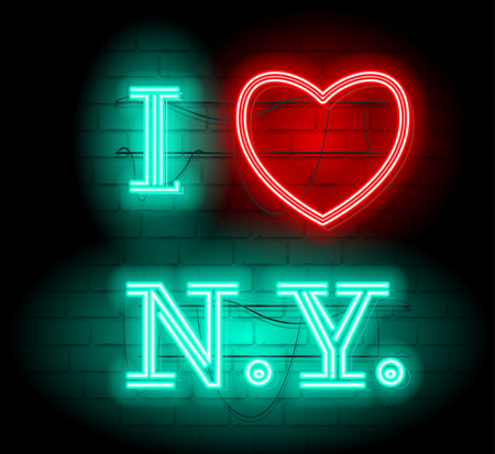 I love NY letter for design and decoration.Neon style sign illustration. Illustration for t shirt printing or wall decoration. Brickwall as background. 向量圖像