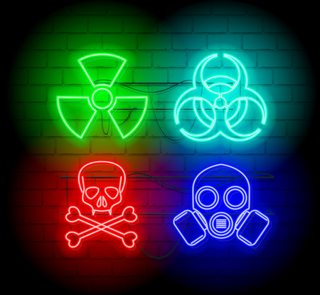 Warning neon silhouette of biohazard icons. Neon style sign illustration. Brickwall as background. Ilustração