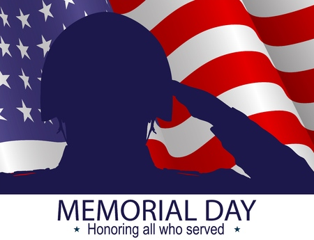 Soldier silhouette saluting the USA flag for memorial day. Honoring all who served slogan. Poster or banners illustration. USA flag as a background. Illustration