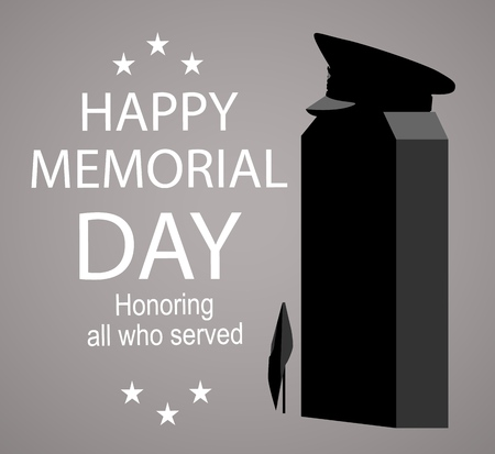 Memorial Day label with the monument. Honoring all who served slogan. Illustration
