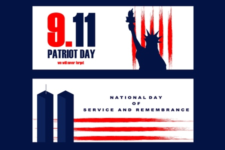 National Freedom Day Illustration with the Statue of Libertyll and the World Trade Center Towers. Poster or banners template - September 11. USA flag lines as background. Stock Illustratie