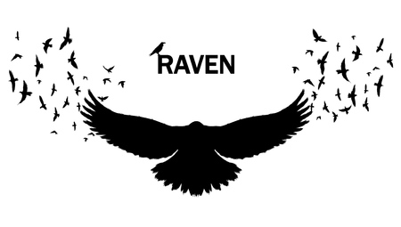 Vector image of a silhouette of a raven on a white background. Wall sticker concept illustration. Stock Illustratie