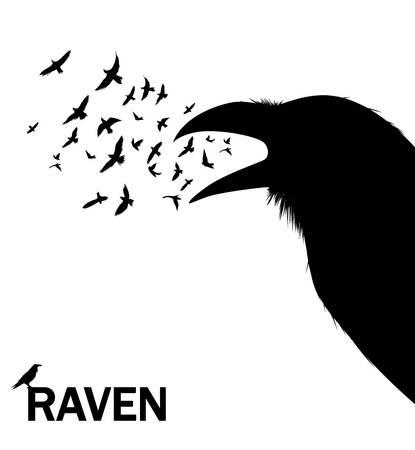 Croaking crow or raven. Vector Illustration for wall decor sticker.