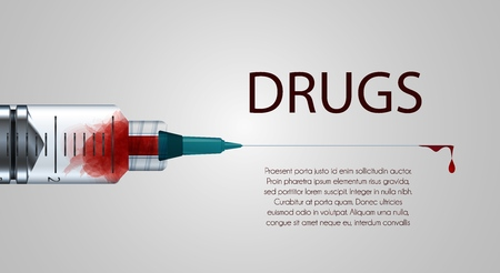 Plastic medical syringe with needle and blood drop, concept of vaccination, injection. Ilustracja