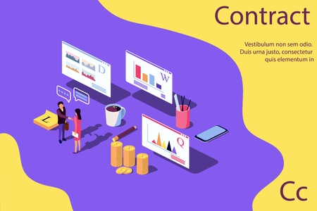 Isometric Concept Performance evaluation success business, growth of teamwork, startup. Vector illustration for web page, banner, presentation, social media. quality control, analysis of results