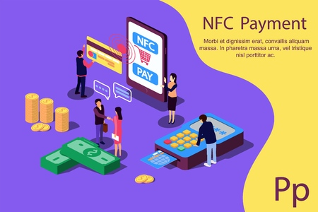 Concept NFC Payment pos terminals with phone and credit card for social media, documents, web page. Vector illustration confirms accept the contactless payment by credit credit card, money. Ilustração