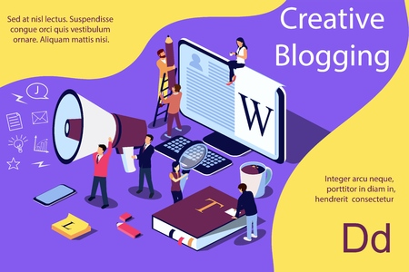 Creative Blogging isometric illustration concept, people learning about creative blogging or copywriting can use for web page, banner, presentation, social media, documents, cards, posters.