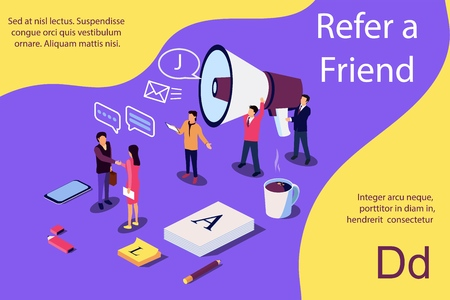 Isometric illustration concept. People shou into the microphone with Refer a friend words Content for web page, banner, social media, documents, cards, posters. Vector illustration for news, copywriting, seminars, tutorial presenttation.