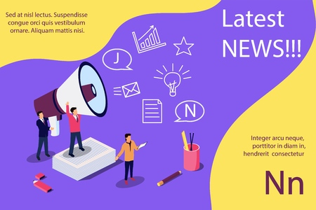 Latest news vector isometric illustration concept, people shout into the megaphone with Latest News words. Concept for, landing page, template, ui, web, mobile app, poster, banner, flyer Stock Illustratie
