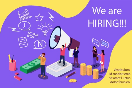 Isometric concept for Human resources. Group of people shouting on megaphone with we are hiring word vector illustration for web page, banner, presentation, social media, documents, cards, posters.