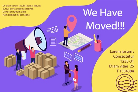 Isometric illustration concept. People shout on megaphone with we have moved word, change office address vector illustration concept, can use for,  banner, social media, documents, cards,mobile app, poster, banner, flyer Illustration