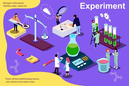 Vector isometric illustration concept. Experiment, people working at laboratorium. Content for web page, banner, social media, documents, cards, posters, news.