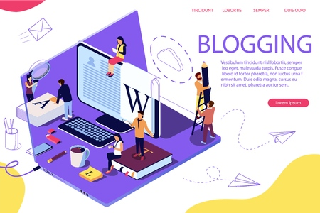 Isometric concept creative writing or blogging, education and content management for web page, banner, social media, documents, cards, posters. Laptop as background. Double exposure vector effect.
