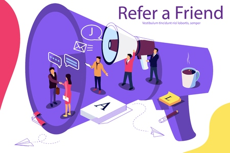 Isometric illustration concept. People shou into the microphone with Refer a friend words Content for web page, banner, social media, documents, cards, posters. Microphone as background. Double exposure vector effect. Ilustração