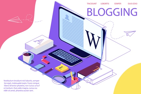 Isometric Concept for Blog, Blogging concept, post, content strategy, social media, chatting. Vector illustration for web page, social media. Laptop as background. Double exposure vector effect.