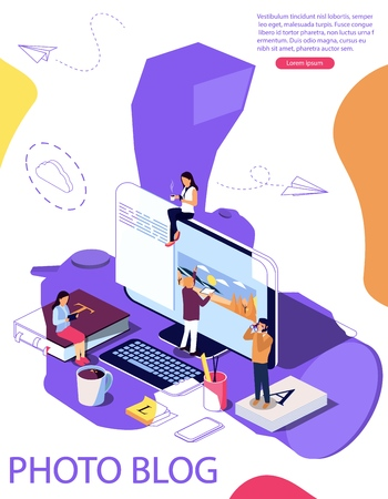 Isometric concept Education. Vector illustration for online education, online training, Internet studying, online book, tutorials, e-learning for social media, documents. Camera as background. Double exposure vector effect.