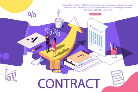 Isometric concept. The investors holds money in ideas social media, documents. Vector illustration for the opening of a new startup, financing of creative projects. Education. Team work. Handshake as background.