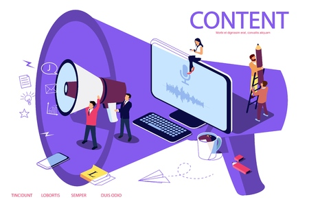Creative Blogging isometric illustration concept, people learning about creative blogging or copywriting can use for web page, banner. Microphone as background. Double exposure vector effect.