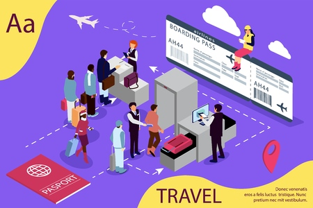 Airport isometric travel concept with reception and passport check desk, waiting hall, control, metal detectors, full-body scanner.  Illustration for web page, banner, social media, documents, cards, posters.
