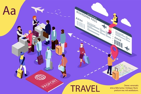 Airport isometric travel concept with reception and passport check desk, waiting hall, control. Illustration for web page, banner, social media, documents, cards, posters. Stock Illustratie