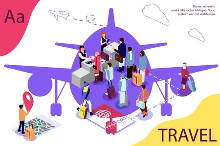 Airport isometric travel concept with reception and passport check desk, waiting hall, control. Airplane as background. Vector  Double exposure effect.