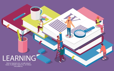 Isometric concept with books for learning or teaching, education. Vector illustration  content for web page, banner, social media, documents, cards, posters, library