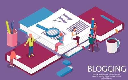 Isometric books. Creative concept for writing or blogging, education and content management for web page, banner, social media, documents, posters. Vector illustration for news, copywriting, seminars, tutorial