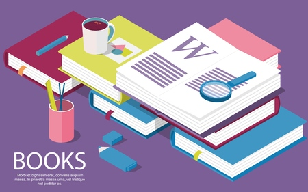 Isometric books. Creative concept for writing or blogging, school education, for web page, banner, social media, documents, posters. Vector illustration for news, copywriting, seminars, tutorial