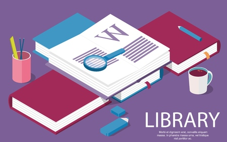 Isometric library creative concept for writing or blogging, school education, for web page, banner, social media, documents, posters. Vector illustration