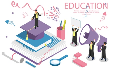 Education concept banner with characters. Can use for web banner, infographics, hero images. Flat isometric vector illustration isolated on white background.