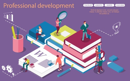Personal Development concept banner with characters. Can use for web banner, infographics, hero images. Flat isometric vector illustration isolated on white background.