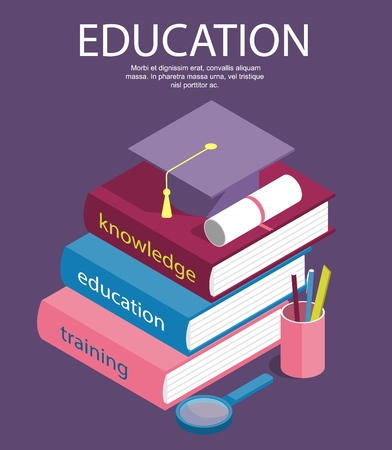 Creative isometric education success, education level and staff and skill development vector concept. School study people, success student learn books illustration