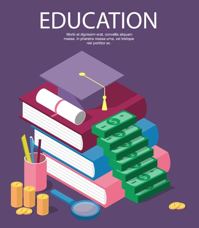 Vector invest in education isometric concept in flat style - stack of coins and book with university hat - Vector
