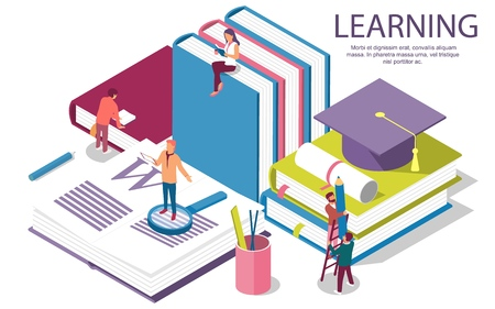 Creative flat design isometric concept of Education for website and mobile website. Landing page template. Easy to edit and customize. Vector illustration Stock Illustratie
