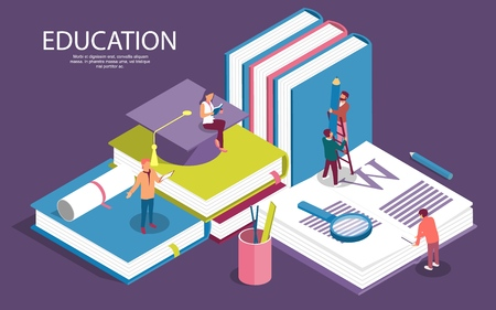 Creative isometric templates for staff education, consulting, college, education app. Modern vector illustration concepts for website and mobile website development. - Vector Stock Illustratie