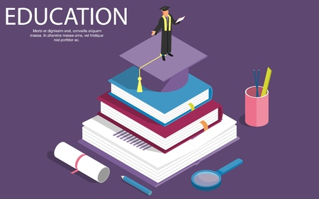 Books step education isometric concept. Vector illustration. can be used for workflow layout, banner, diagram, number options, step up options, web design. - Vector