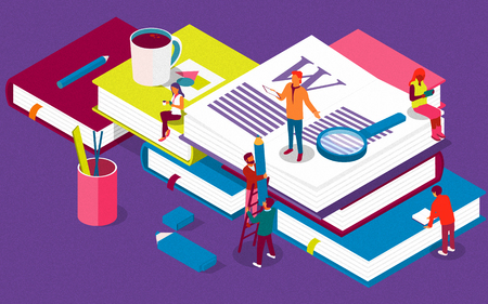 Isometric concept with books for learning or teaching, education. Illustration  content for web page, banner, social media, documents, cards, posters, library, seminars with characters.